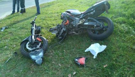 Авария в Бобруйске: мотоцикл пополам