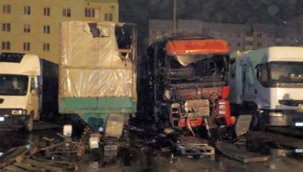 На автостоянке в Бобруйске загорелся грузовик