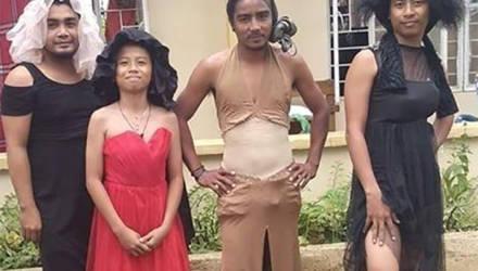 Эвакуированные из-за вулкана филиппинцы не унывают и постят странные образы из пожертвованной одежды