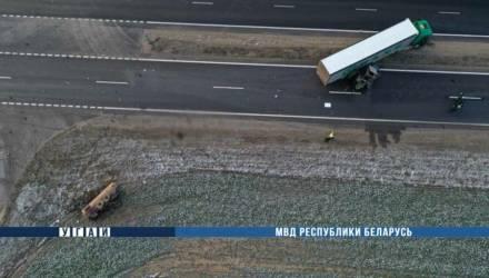 В Щучинском районе столкнулись фура и трактор — один водитель погиб, а второй госпитализирован