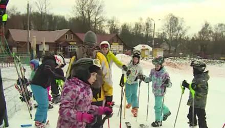 На слаломной трассе в Могилёве появился снег (видео)