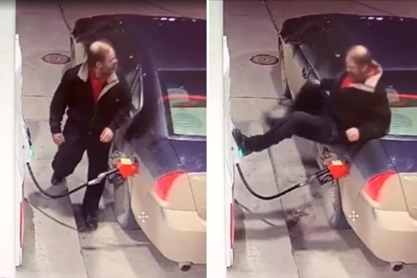 Когда сдают нервы. Водитель в Канаде избил бензоколонку руками, ногами и заправочным пистолетом
