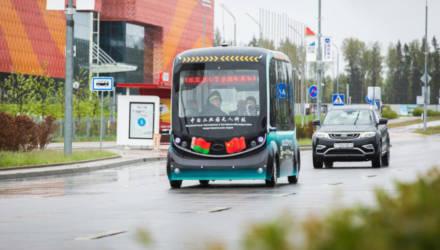 Первый беспилотный электробус протестировали в Беларуси